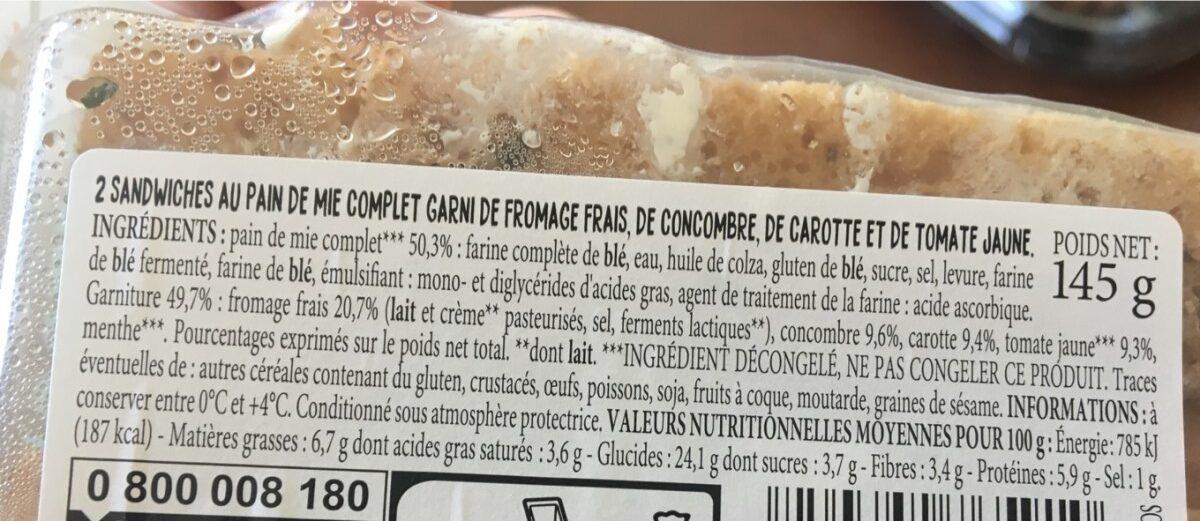 Club sandwich - Informations nutritionnelles - fr