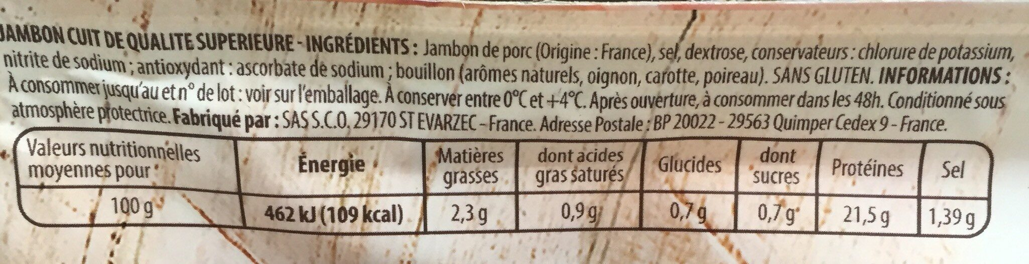 Jambon - Valori nutrizionali - fr
