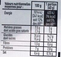 Crêpes vanillées - Informations nutritionnelles - fr