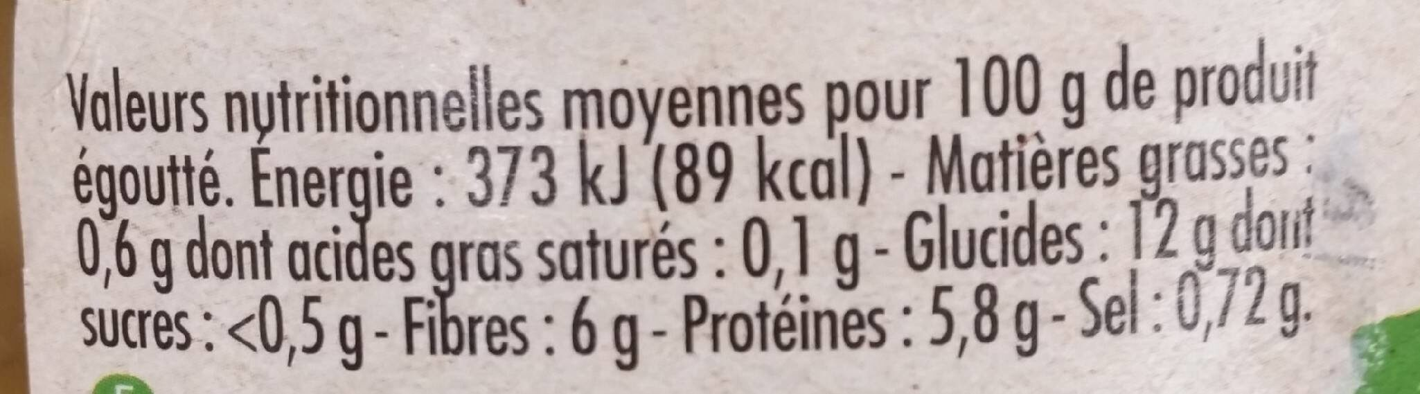 Flageolets bio - Informations nutritionnelles - fr