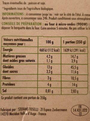 Lasagnes aux légumes - Informations nutritionnelles - fr
