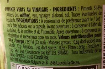 Mini piments verts - Informations nutritionnelles - fr