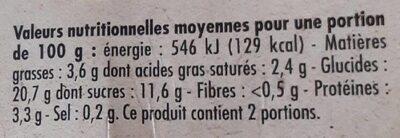 Riz au lait nature - Informations nutritionnelles - fr