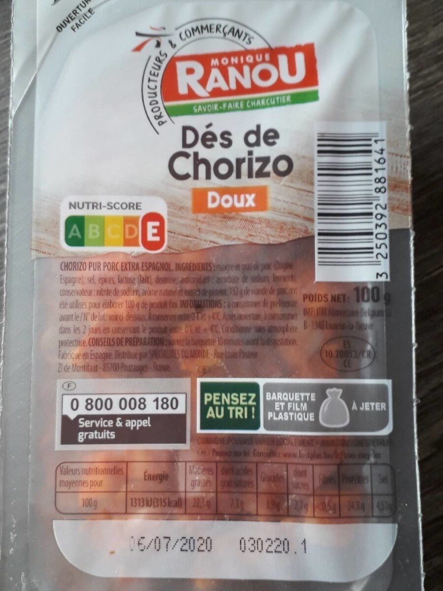 Dés de Chorizo doux - Produit - fr