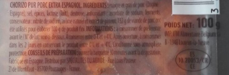 Dés de Chorizo doux - Ingrédients - fr