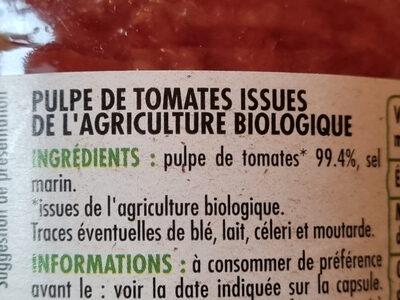 Chair de Tomates Bio - Ingrédients - fr
