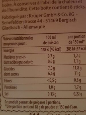 Cappuccino - Nutrition facts - fr