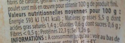Filet de poulet rotie - Valori nutrizionali - en