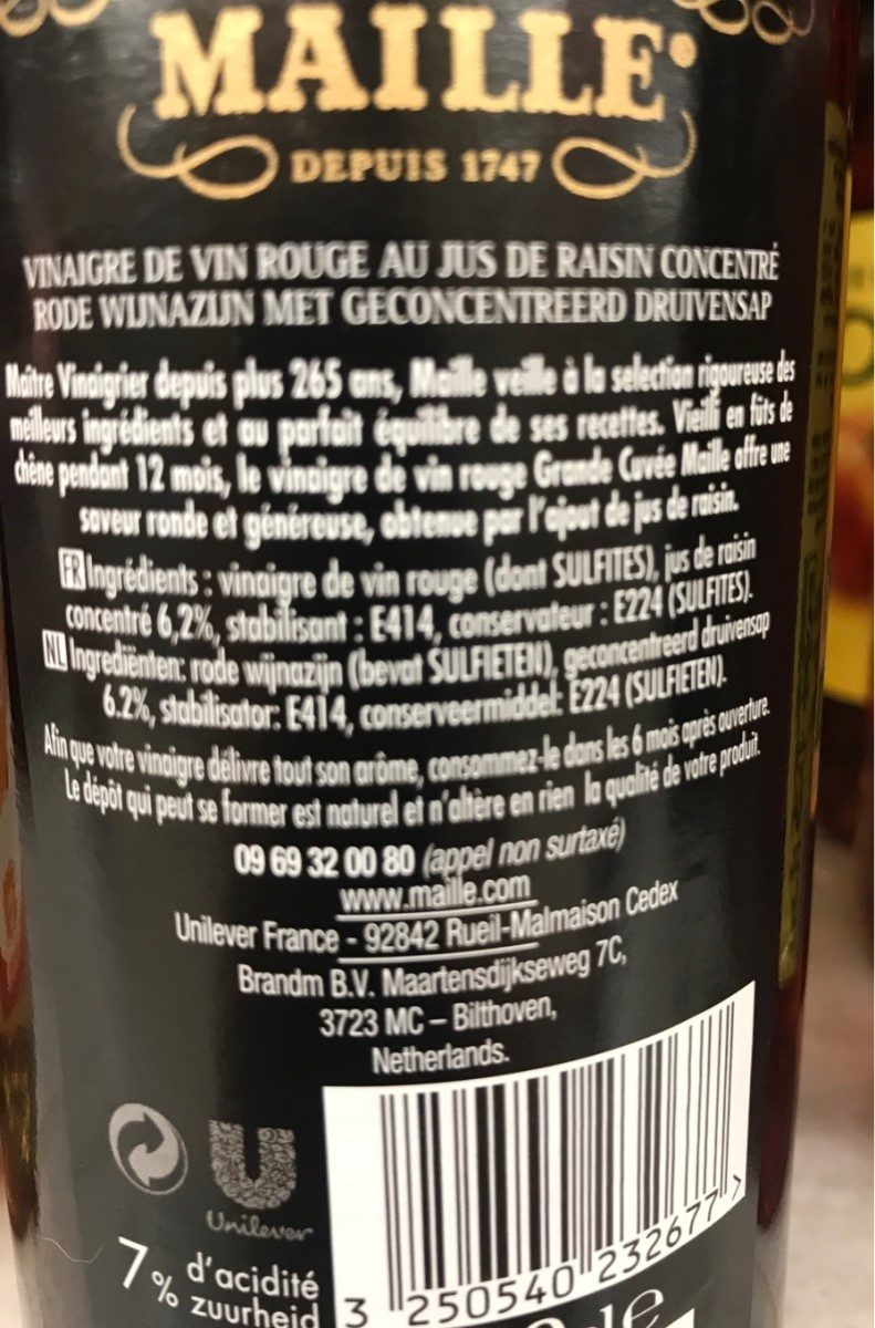 Maille Vinaigre de Vin Rouge adouci au jus de raisin concentré 50cl - Ingredients - fr
