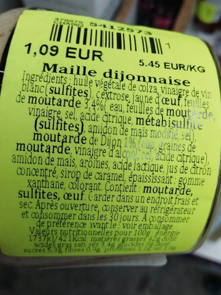 Maille Dijonnaise - Nutrition facts - fr
