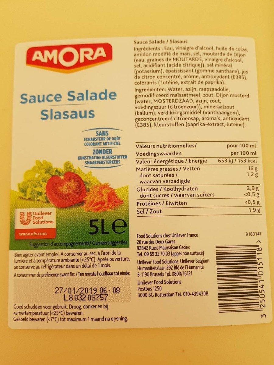 Sauce salade - Voedigswaarden