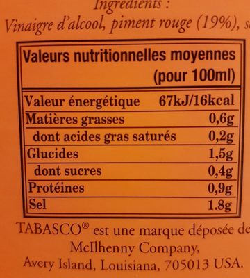 350ML Sauce Pimentee Tabascao Rouge - Ingredients