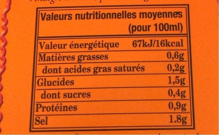350ML Sauce Pimentee Tabascao Rouge - Nutrition facts - fr