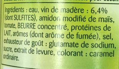 Sauce Madère - Ingrédients