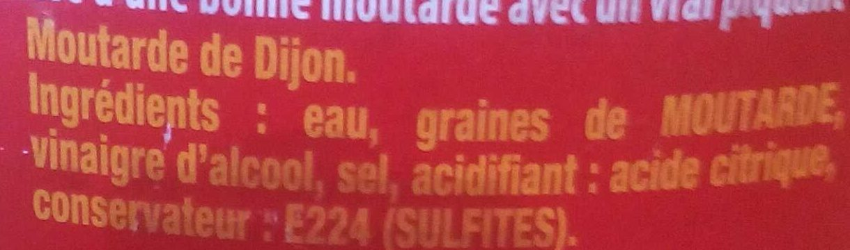 Moutarde de Dijon fine et forte - Ingredientes