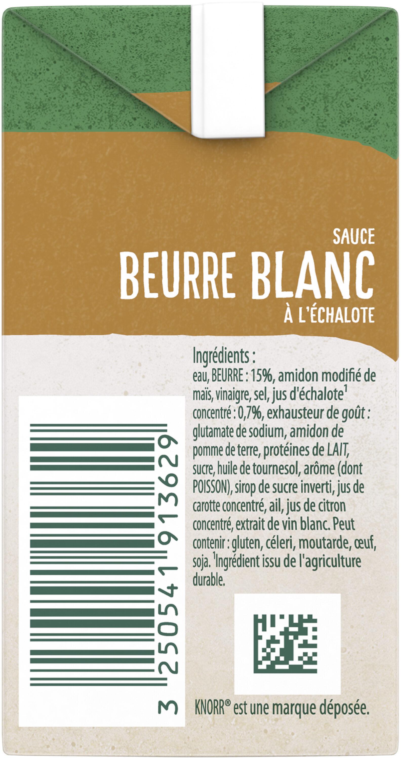 Knorr Sauce Chaude Beurre Blanc à l'Échalote Brique 30cl - Ingrédients - fr