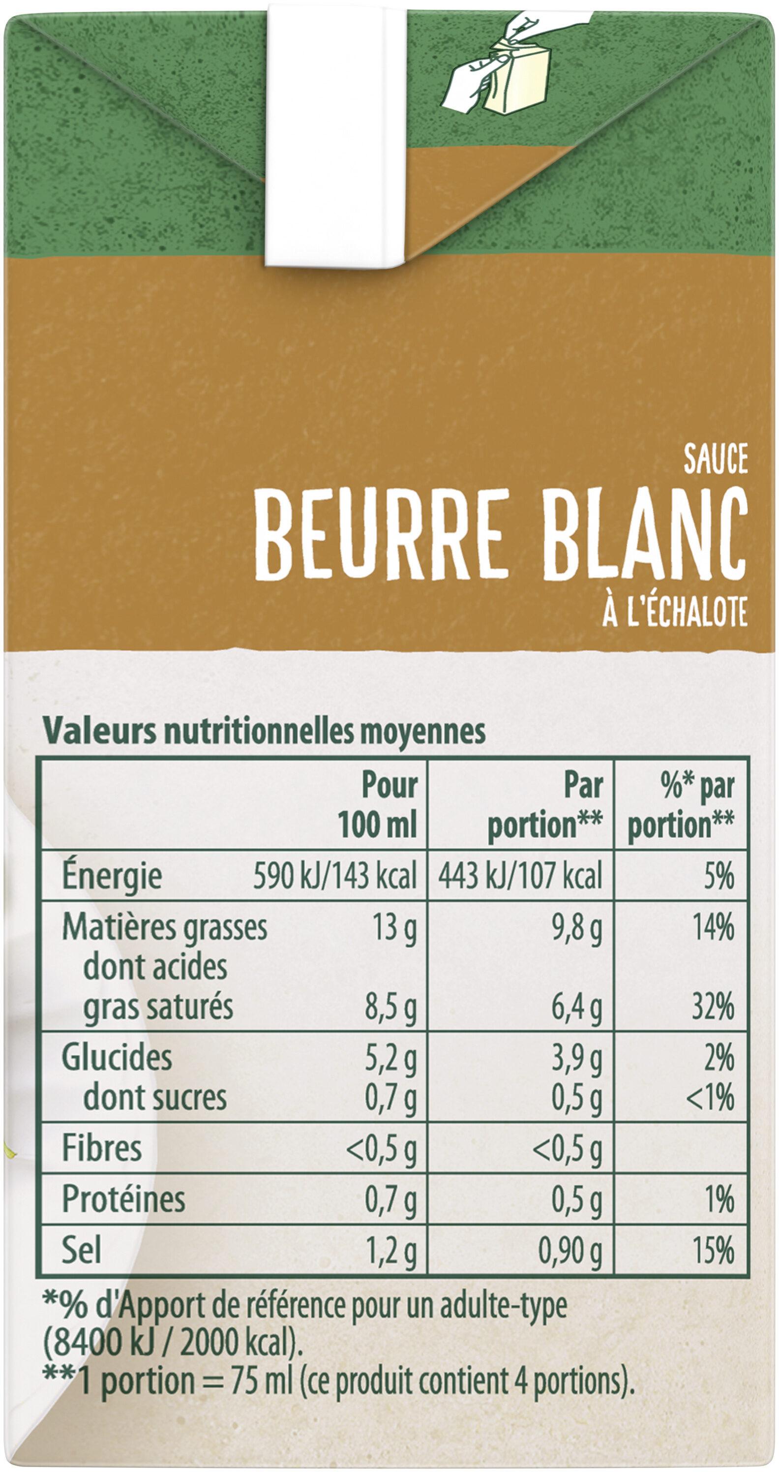 Knorr Sauce Chaude Beurre Blanc à l'Échalote Brique 30cl - Informations nutritionnelles - fr