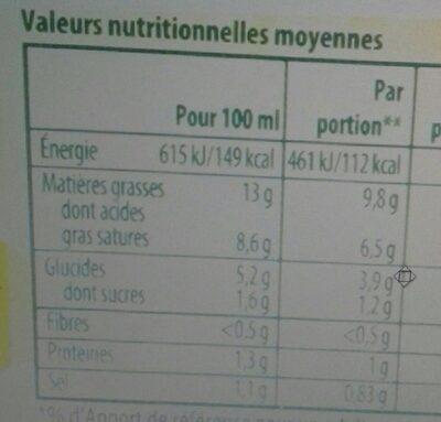 Knorr Sauce Hollandaise au Jus de Citron Brique 30cl - Valori nutrizionali - fr