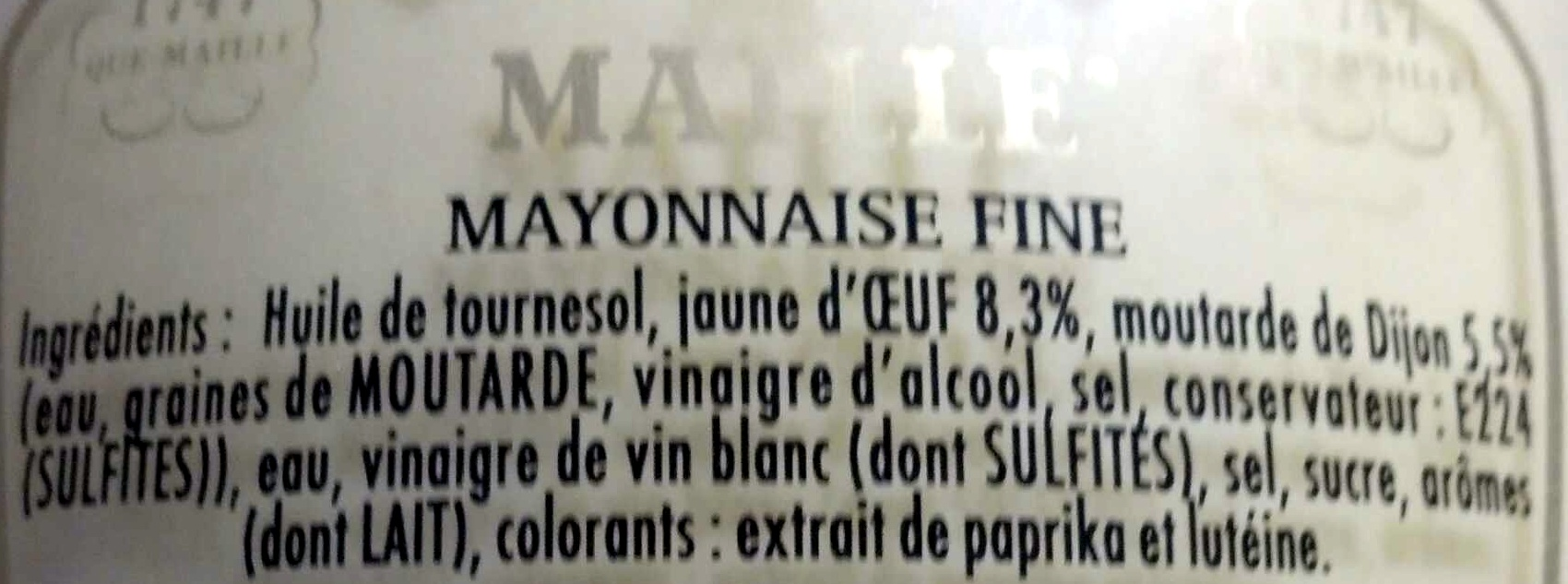 Mayonnaise fine qualité traiteur 100g - Ingredients