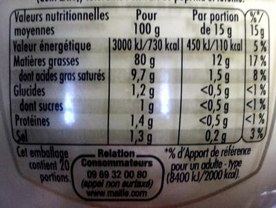 Mayonnaise fine qualité traiteur 100g - Nutrition facts