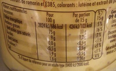 Mayonnaise fin gourmets qualité traiteur - Informations nutritionnelles
