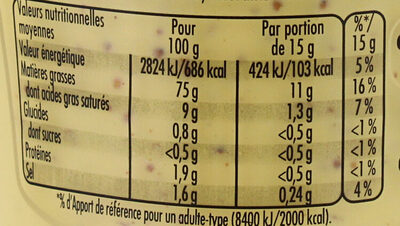 Mayonnaise Fins Gourmets - Informations nutritionnelles - fr