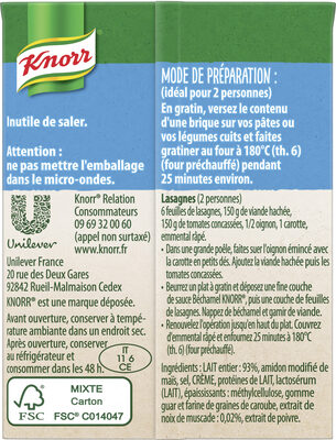 Knorr Sauce Béchamel à la Noix de Muscade 20cl Lot de 2 - Ingredients