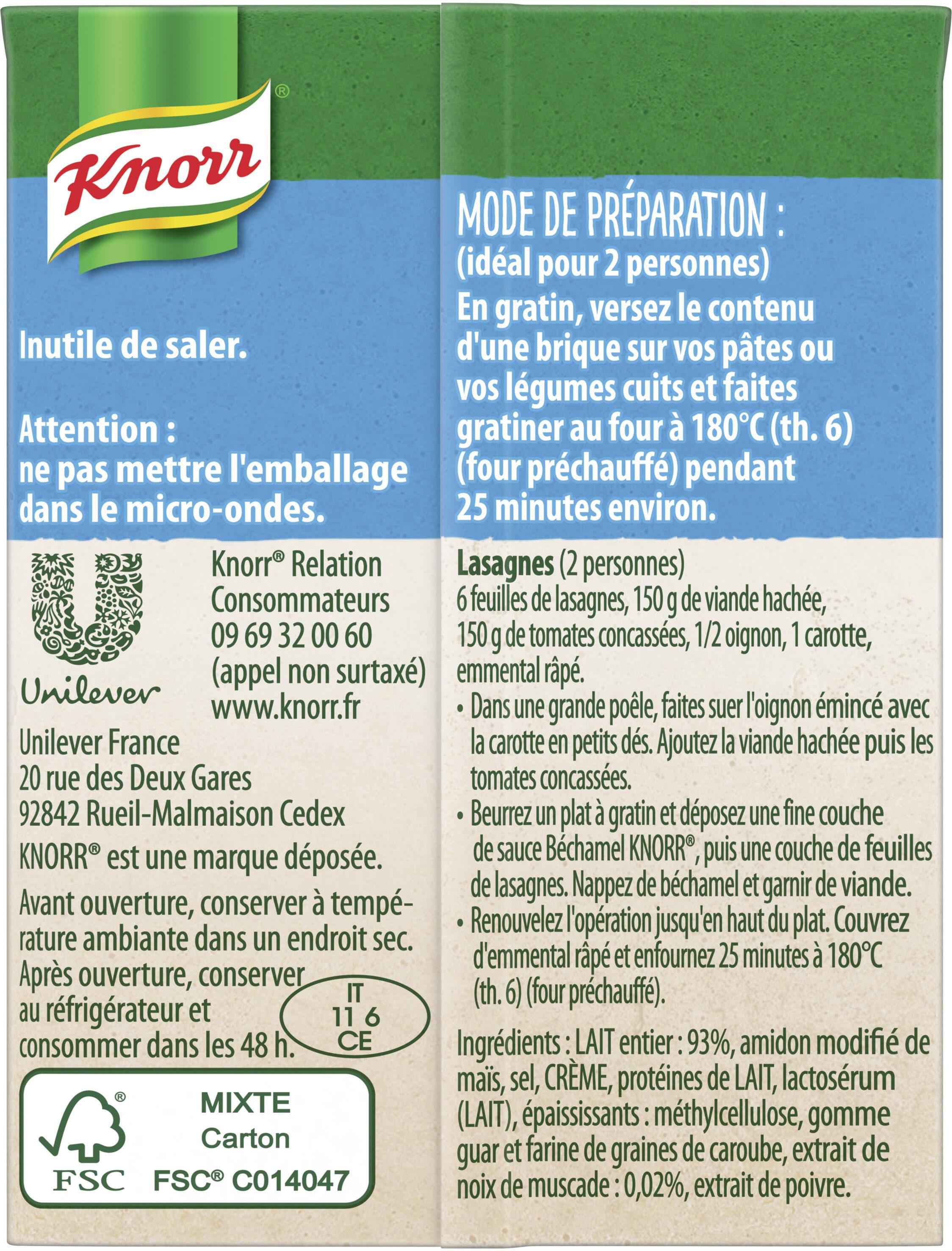 Knorr Sauce Béchamel à la Noix de Muscade 20cl Lot de 2 - Ingredients - fr