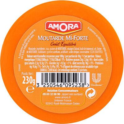 Amora Moutarde Mi-Forte Verre 230g - Informations nutritionnelles
