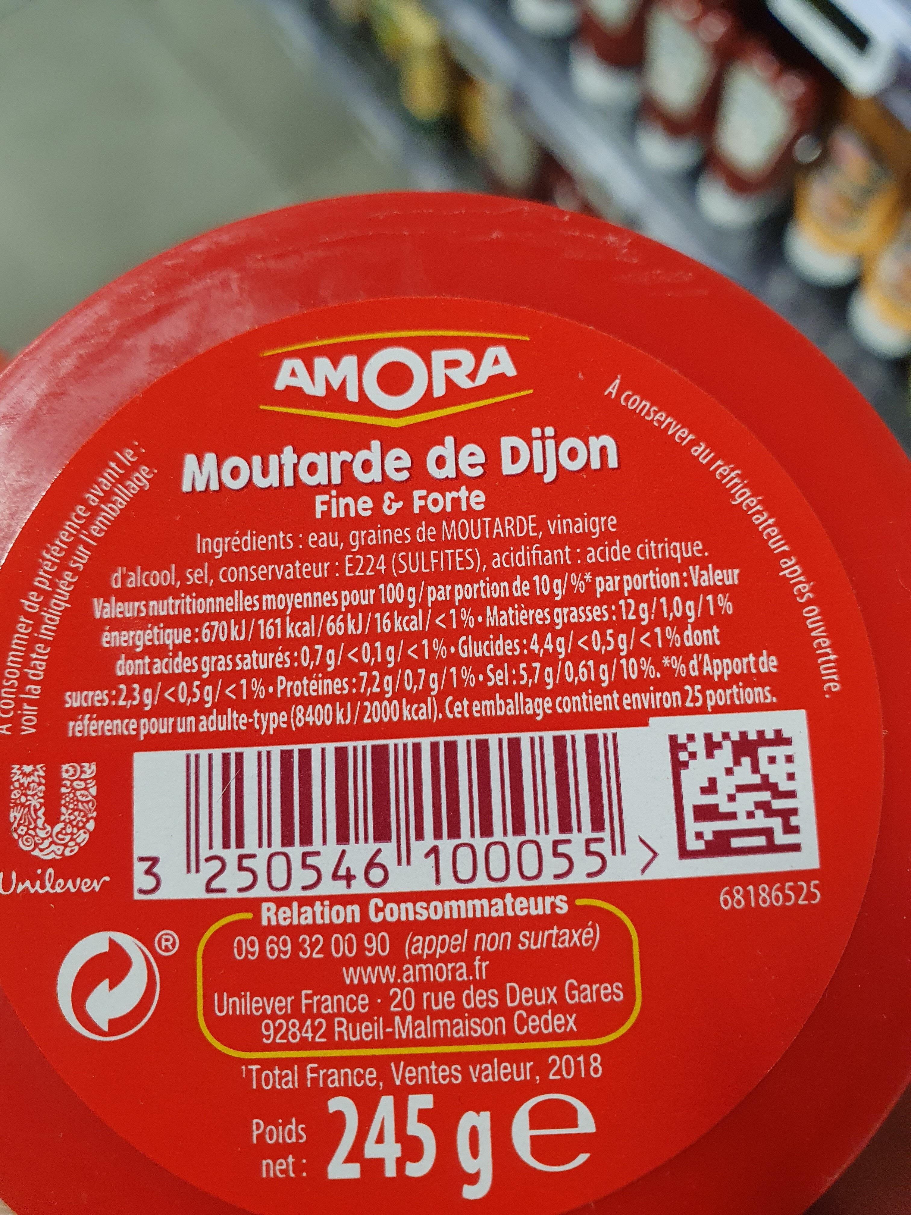 Amora Moutarde Fine et Forte Verre De Table 245g - Informazioni nutrizionali - fr