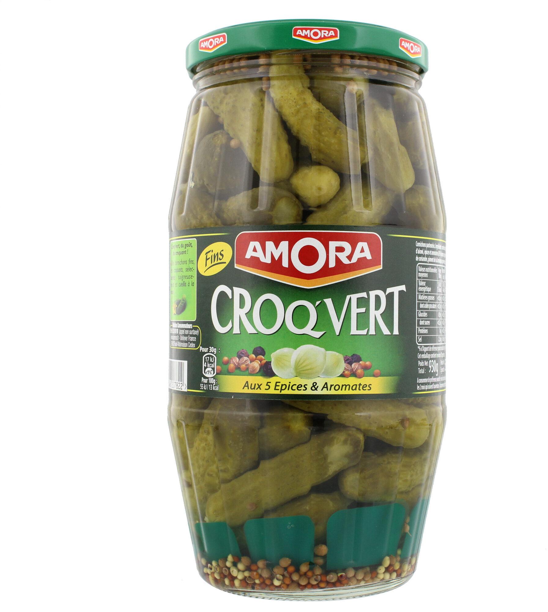Amora Croq'Vert Cornichons Fins aux 5 Epices et Aromates 550g - Produit - fr