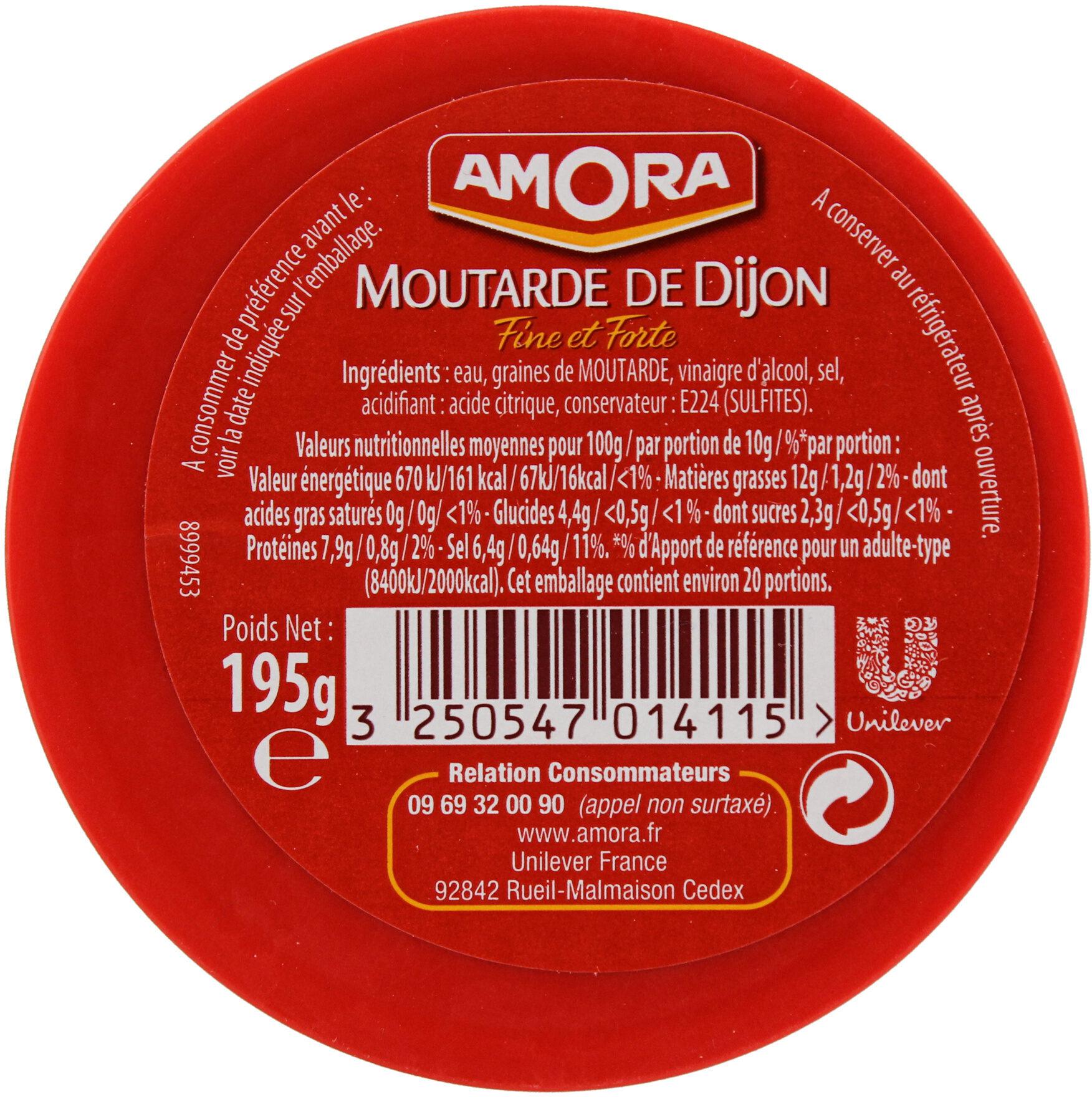 Amora Moutarde de Dijon Fine et Forte Verre Tv 195g - Informations nutritionnelles - fr