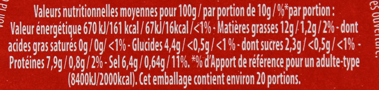 Amora Moutarde de Dijon Fine et Forte Verre Tv - Informations nutritionnelles - fr