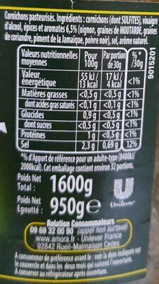Cornichons Fins, 950 Grammes, Marque Amora - Nutrition facts - fr