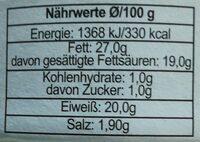 Munster - Informació nutricional - es