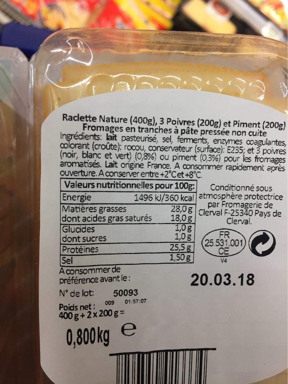 Raclette 3 Saveurs - Informations nutritionnelles - fr