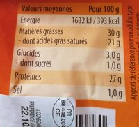 Mélange râpé de fromages - Informations nutritionnelles - fr