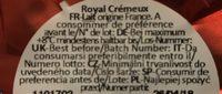 Le Royal Crémeux - Ingrédients - fr