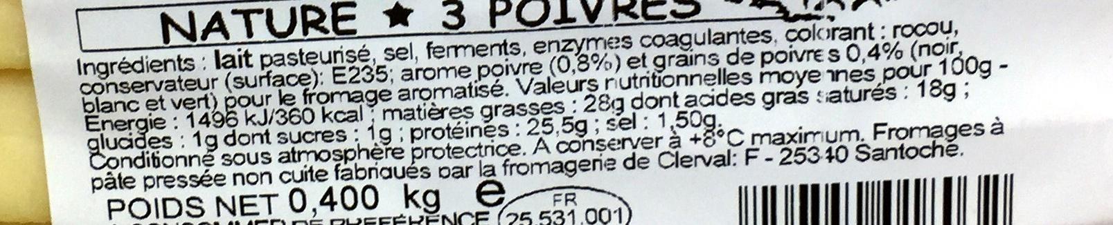 Raclette au lait de Franche-Comté Nature - 3 poivres - Ingrédients - fr