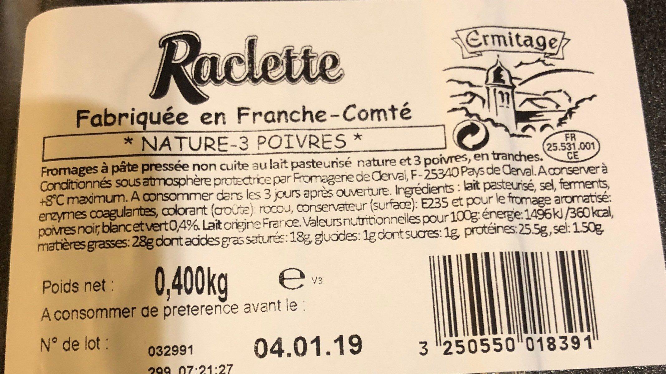 Raclette (grand frais) - Ingrédients - fr