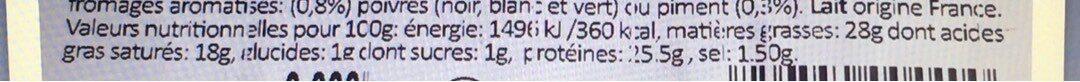 Raclette (grand frais) - Informations nutritionnelles - fr