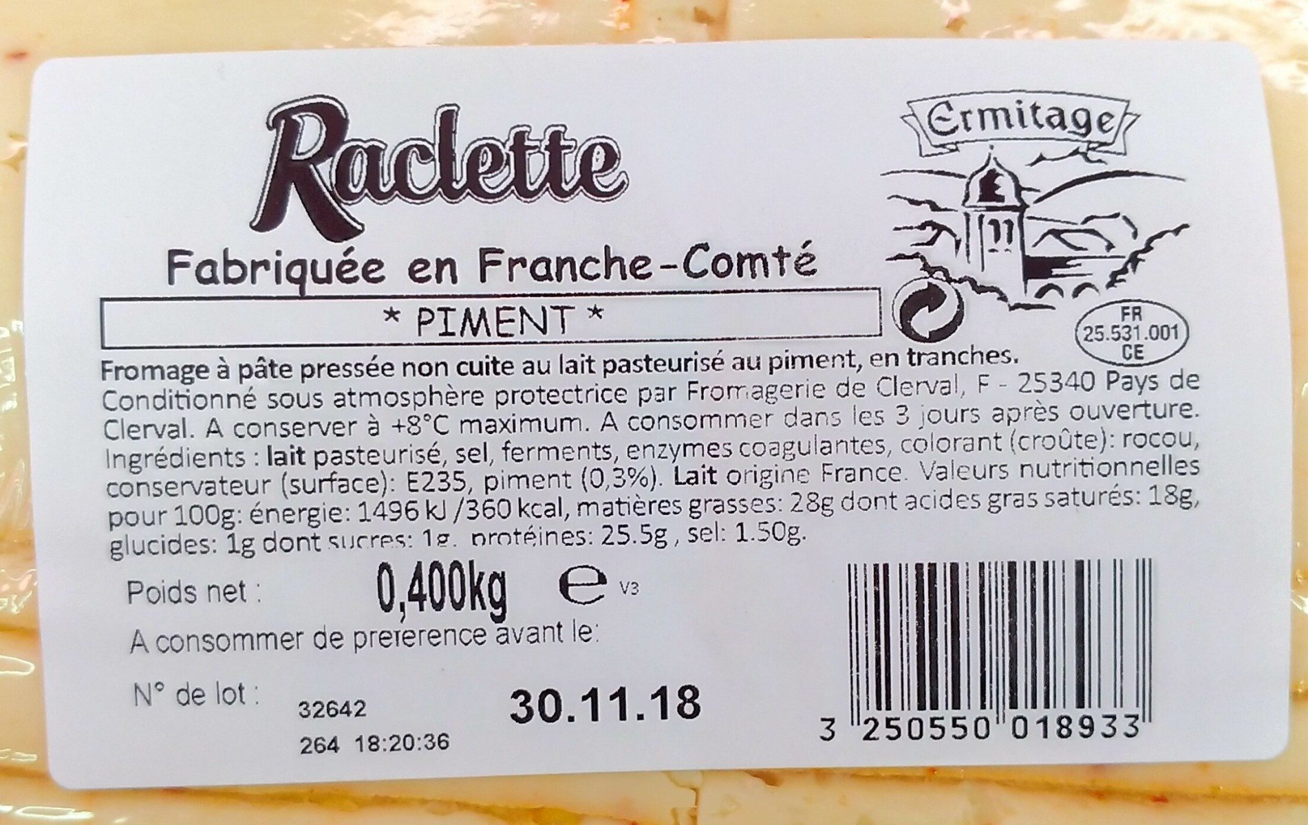 Fromage à raclette - Ingrédients - fr