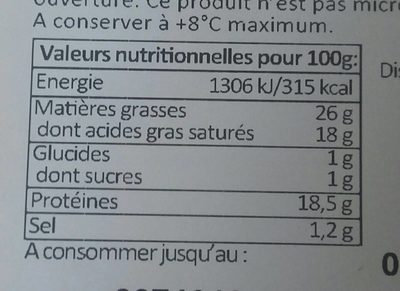 Mont d'or - Nutrition facts