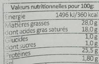 Raclette Label Rouge - Voedingswaarden