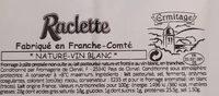Fromage à raclette - Informations nutritionnelles - fr
