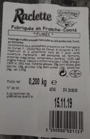 Raclette - Informations nutritionnelles - fr