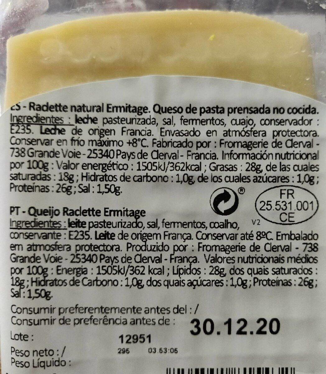 raclette - Informations nutritionnelles - de