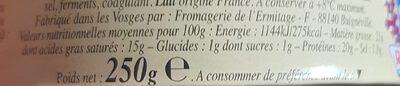 Camembert 50 % - Informations nutritionnelles - fr