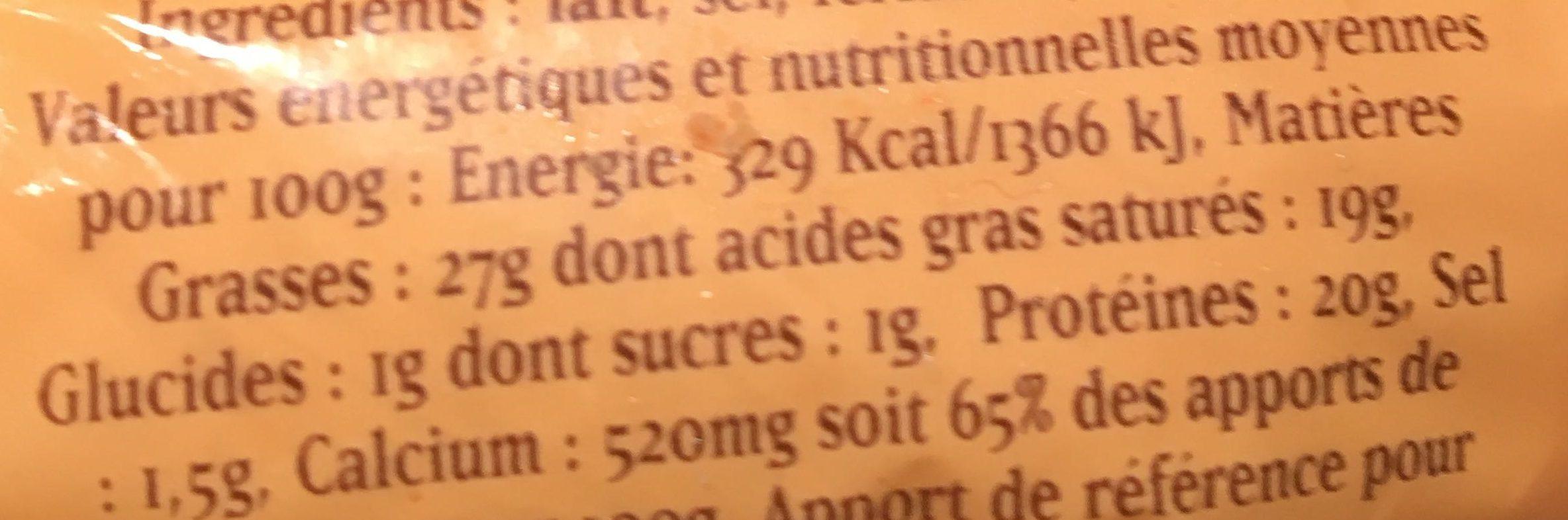 Fromage pour tartiflette - Informations nutritionnelles - fr