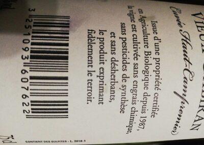 Vin rouge château vieux gabiran - Valori nutrizionali - fr